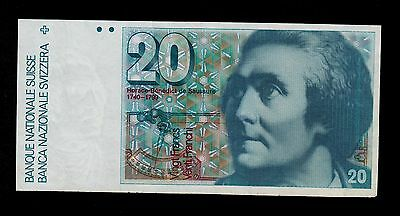 SWITZERLAND  20  FRANKEN  1990  SIGN. 64  PICK # 55i  VF  BANKNOTE.