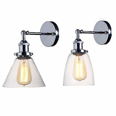 Modern Industrial Vintage Chrome Sconce Loft Style Indoor Glass Light Wall Lamp