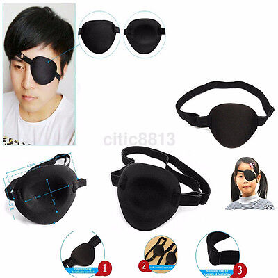 1X Medical Use Concave Eye Patch Foam Groove Adjustable Strap Washable Eyeshades