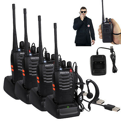 4PCS Baofeng Walkie Talkie 2 Way Radio UHF400-470MHZ Long Range 16CH 5W Earpiece