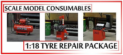 1:18 1/18  Scale Diorama Workshop Tyre Repair Balancer Fitter Compressor Red