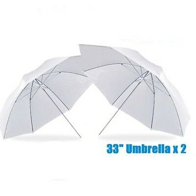 "2x  33"" Photo Studio Translucent White Umbrella for Flash Light SoftBox Diffuser"