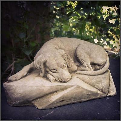 New Sleeping Dog Stone Garden Statue Ornament Sculpture Grave Memorial 2kg