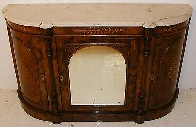 Good Quality Antique Victorian Walnut And Inlaid Credenza
