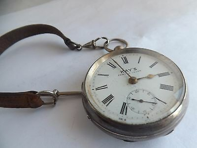 """a vintage hallmarked silver """"kays"""" pocket watch with leather chain"""