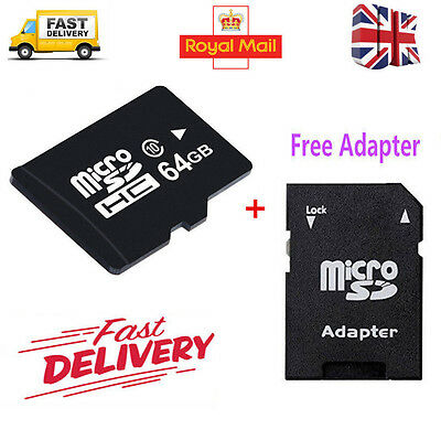 64GB MicroSD Class 10 Flash Memory Card + SD Adapter For Phone Tablet Camera UK