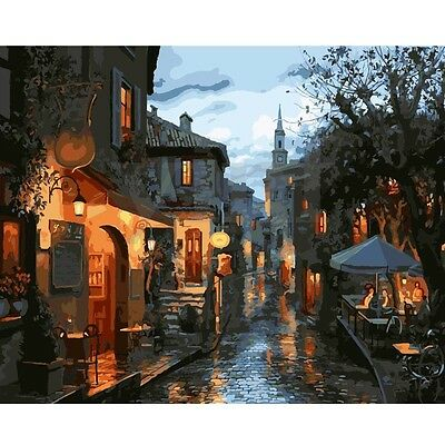 16X20'' Old Town Scenery DIY Acrylic Paint By Number Kit Oil Painting On Canvas