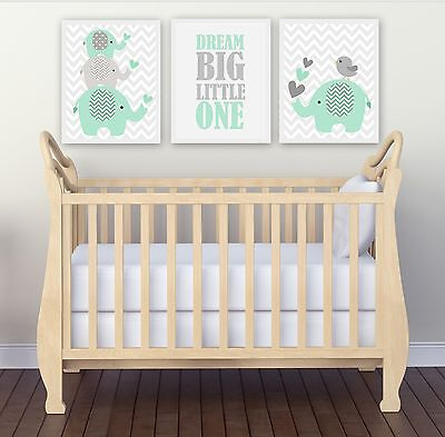 Nursery Wall Art Print ~ Dream Big Mint Elephants ~ 3 pce set