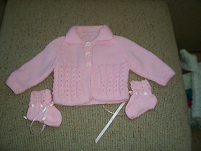 New Hand Knitted Baby Cardigan With Collar & Booties Pink 0 -3 Months Approx