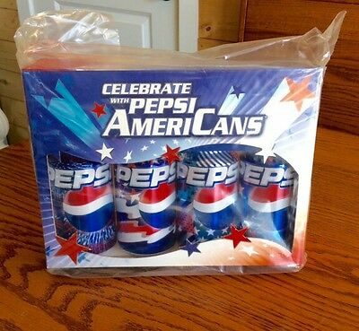 Set of 4 PEPSI 2003 COLLECTOR CANS Patriotic MINT in BOX AmeriCans Stars Stripes
