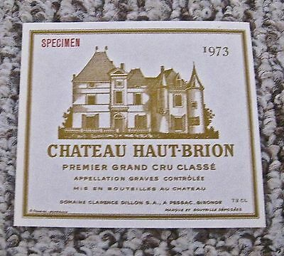 Vintage Wine Label 1975 Chateau Haut Brion Premier Grand Cru Classe Specimen