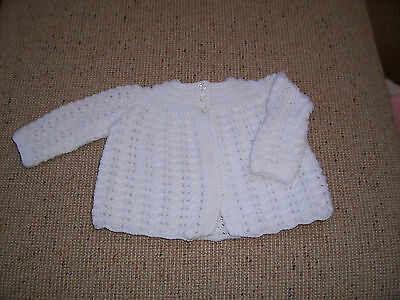 New Hand Knitted   Baby Jacket White  0 -3 Mths Approx