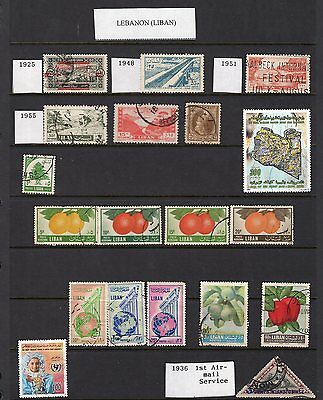 Middle East page of old stamps
