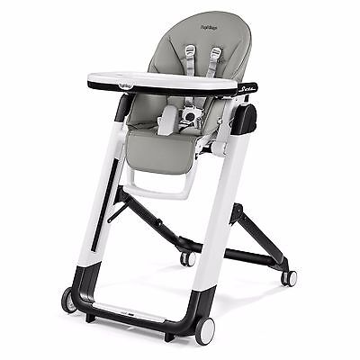 Peg Perego Siesta High Chair In Ice Ultra Compact 9 Position Height Adjustment