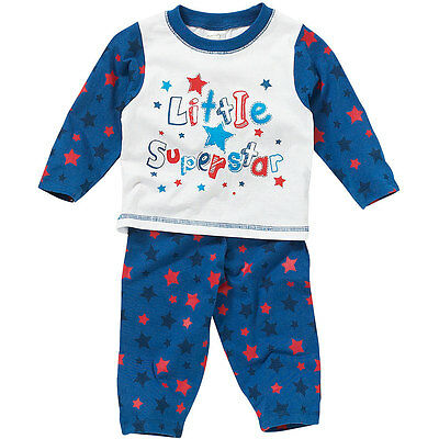 Lullaby Baby Boys Pyjamas Little Superstar Print Cotton Long Sleeve Blue Red