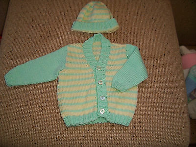 New Hand Knitted Baby Cardigan & Cap  Green & Lemon  0 -3 Mths Approx