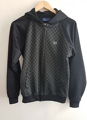 Boys Youths FRED PERRY Vintage Retro Black Hooded Top Jacket- Size L
