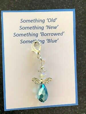 Something Blue Wedding Brides Bouquet Garter Guardian Angel Charm Gift Present