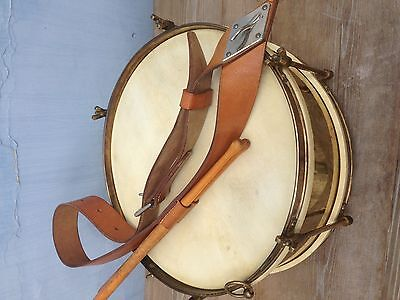 Vintage Brass & Hide Marching Snare Drum with Leather Sling