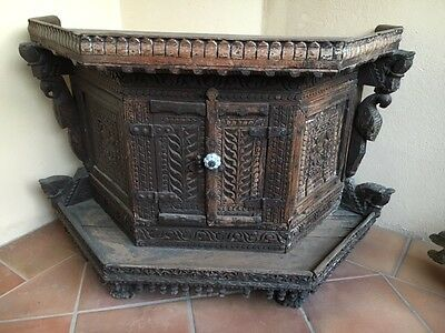 Antique indian Chest with decorative wood work.