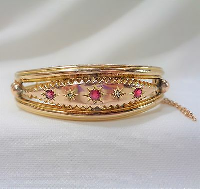 Antique Edwardian c.1904 Ruby and Diamond Bangle in 9ct Yellow Gold