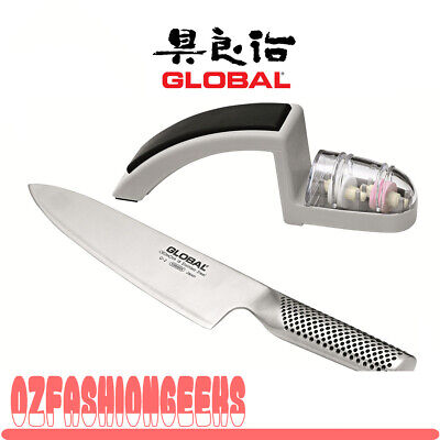 100% AUTHENTIC Brand New Global 20cm Cook's Knife & Sharpener Set (RRP $249)