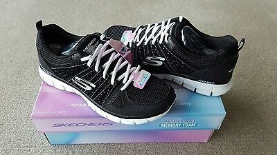 Skechers Ladies Synergy Lace Up Shoes Black Size 8