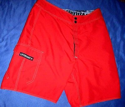 Mens 32 Speedo Life Guard Boardshorts Reversible Red/Blue Swim Suit Trunks