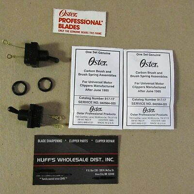 Oster A-5 & Classic 76 <<2 Each> Parts 1-speed switch with nut & Carbon Brushs