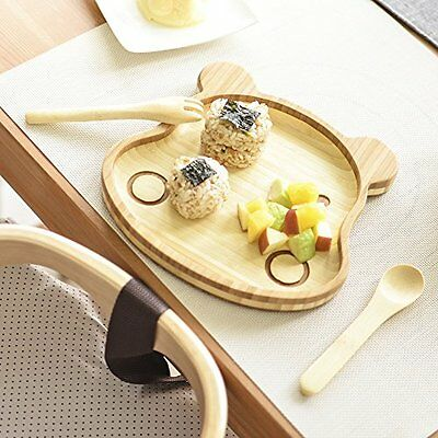 Kids Baby Toddler Feeding Set (Plate and Utensils), Natural Bamboo (Hippo)