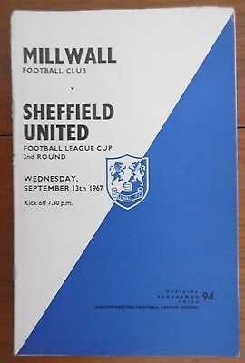 Millwall V Sheffield United (League Cup) Football Programme 13-9-1967