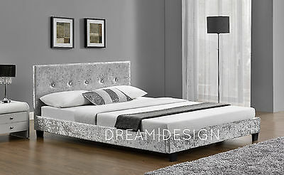 4FT6 Double Fabric Silver Crushed Velvet Bed Frame
