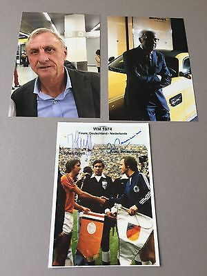 JOHAN CRUYFF (†) & FRANZ BECKENBAUER In-person WM 1974 signed Foto 10x14.5 RAR