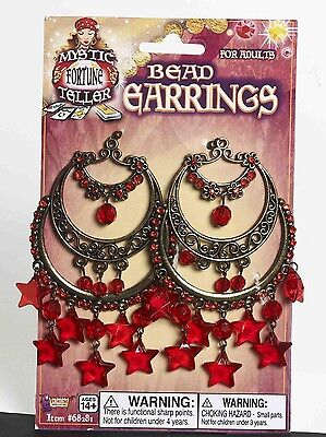 Gypsy Chandelier Costume Earrings With Dangling Red Stars One Size