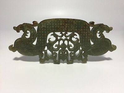 Chinese Antique Jade Dragon Phoenix Carving