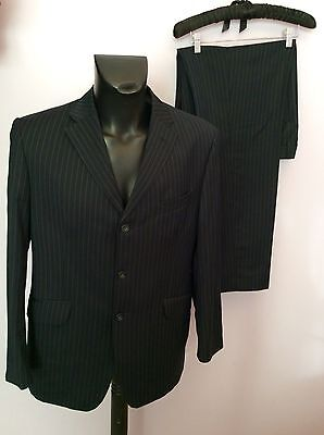 Marks & Spencer Sartorial Navy Blue Pinstripe Wool Suit Size 40S/ 34W