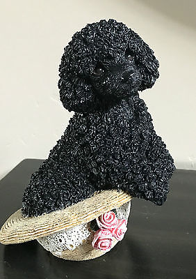 Vintage Living Stone Poodle Puppy in Straw Hat