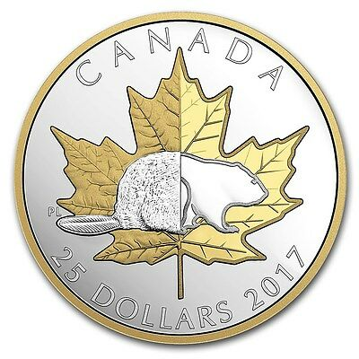 Canada 2017 Timeless Icons Beaver Maple Leaf High Relief Piedfort $25 Silver Prf