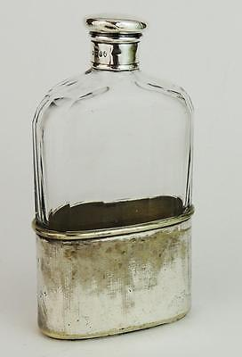 VICTORIAN SILVER CAP Antique SILVER PLATED HIP FLASK 1875