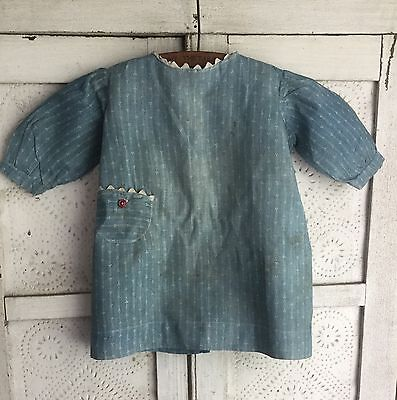 Sweet Americana Primitive Antique Early Cadet Blue Calico Childs Farm Dress Aafa