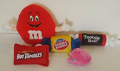 Candy Plush Pillow Lot Tootsie Roll Peep Hot Tamales Dubble Bubble M&M's Collect