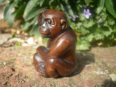 Hand carved wood netsuke Monkey with big nut, Antique / vintage style figure
