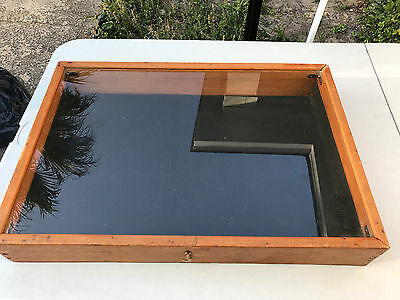 """Very Nice Wooden Display Case, Glass Top, Hinged Lid 4"""" H, 25 1/2"""" W, 17 1/2"""" D"""