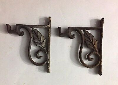 Pair Vintage Cast Iron Curtain Rod Brackets Shelf Victorian Leaf Motif Rustic