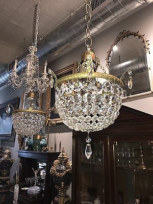 Pair FRENCH Mid Century Dore Bronze & Crystal Powder Room Hallway CHANDELIERS