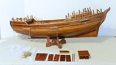 """Large Vintage Wooden Pirate ship model hull. Project. Schooner Tall ship 40"""""""