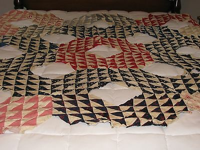Unfinished hand pieced vintage quilt top, Ocean Wave, cutter or reconstruction