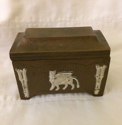 Vintage Art Deco Egyptian Revival Ivory Bronze Metal Casket Chest Box