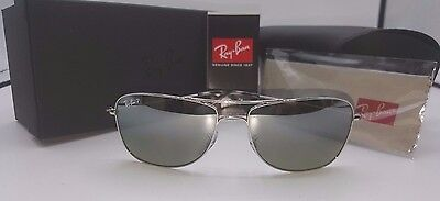 Ray-Ban Chromance Polarized Sunglasses Rb3543 003/5J Silver/silver Lens 59Mm
