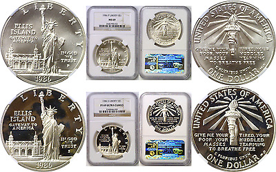 1986-P&S $1 Statue Of Liberty Commemorative Silver Dollars NGC MS 69 & PF 69